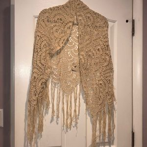 Other - Beautiful cream handmade crochet shawl one size